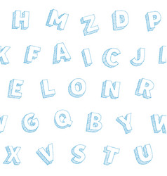 blue pen hand drawn letters alphabet vector image
