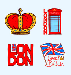 British symbols badges or stamps emblems vector
