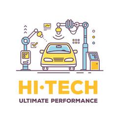 Car high tech service with header vector