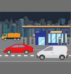 car refueling petrol at gas station vector image