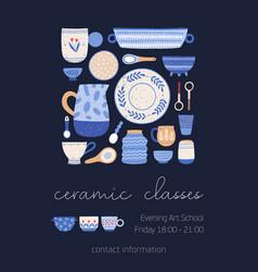 Ceramic classes poster template porcelain vector