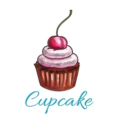 Chocolate tart cupcake icon vector image