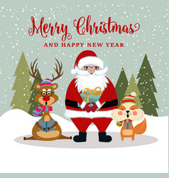 christmas card with santa reindeer and squirrel vector image