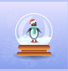 Christmas magic ball with pinguin wearing santa vector