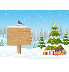 christmas tree and a wooden signpost vector image