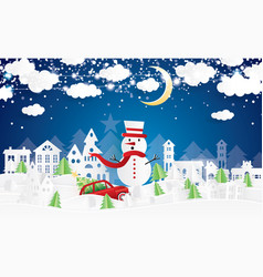 christmas village and snowman in paper cut style vector image
