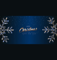 Christmas web banner luxury card of snowflakes vector