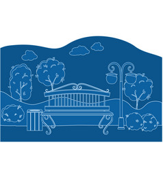 city park with trees bench lantern and walkway vector image