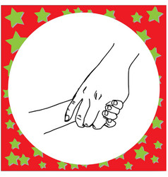 close-up mother holding a hand of her child vector image