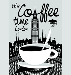Coffee banner on background of london landscape vector