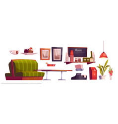 coffee shop interior with couch and table vector image