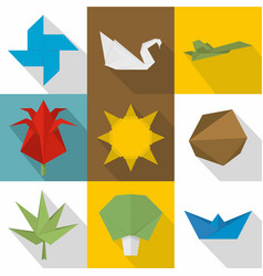 collect from paper icons set flat style vector image