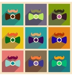 Concept of flat icons with long shadow mustache vector