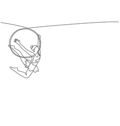 Continuous one line drawing an acrobatic woman vector