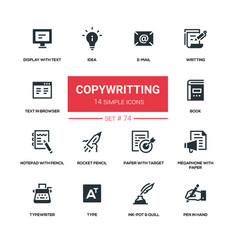 copywriting concept - flat design style icons set vector image