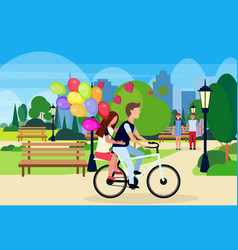 couple in love riding bicycle with colorful air vector image