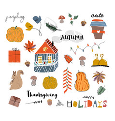 Cute autumn collection set fall harvest season vector