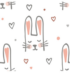 cute cartoon barabbit or bunny seamless pattern vector image