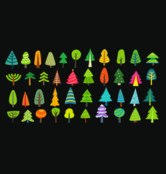 different decorative colorful trees collection vector image