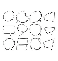 Doodle blank speech bubbles hand drawn cartoon vector