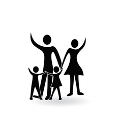 Family parents and children waving logo vector