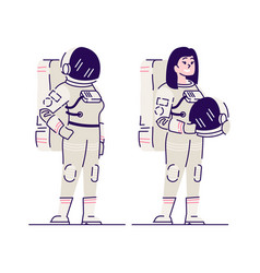 female astronaut with helmet flat smiling vector image