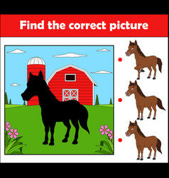 Find the correct picture education game childern vector