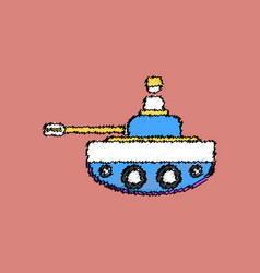Flat shading style icon soldier on tank vector