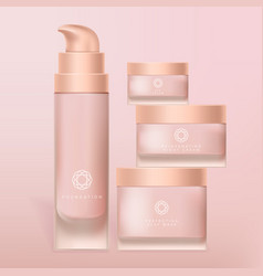 Foundation cream and mask frosted glass vector