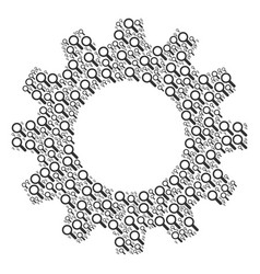 gear wheel collage of search icons vector image