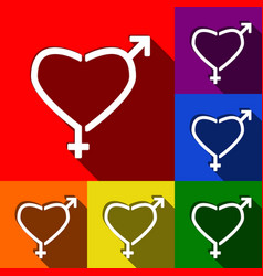 gender signs in heart shape set of icons vector image