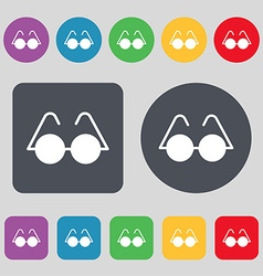Glasses icon sign A set of 12 colored buttons Flat vector