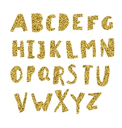 Gold Alphabet Cut letters from golden foil vector