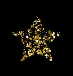 Golden christmas star gold star confetti vector