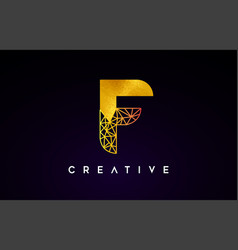 Golden gold letter f beauty logo f letter design vector