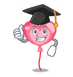 Graduation ballon heart character cartoon vector