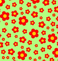 Green meadow with red flowers background vector