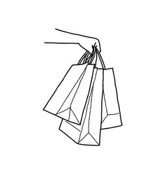 hand holding blank shopping bags vector image