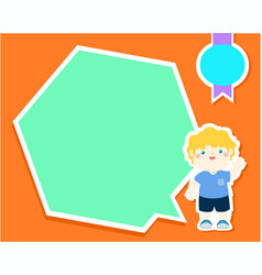 happy little boy kid with empty speech bubble vector image