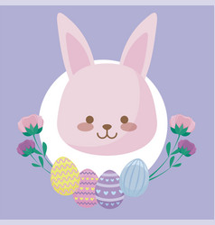 head of cute rabbit with flowers and eggs of vector image