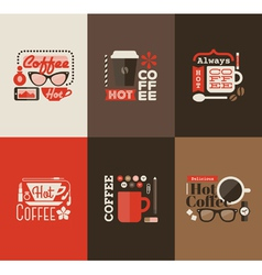 Hot coffee Set of design elements vector image
