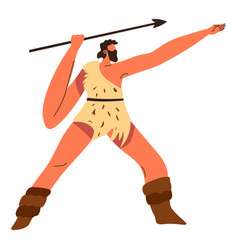 Hunter with weapon for hunting stone age people vector
