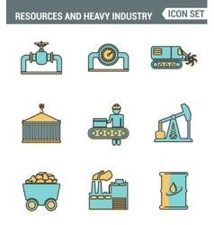 Icons line set premium quality of heavy industry vector