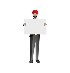 Indian bearded businessman holding white board vector