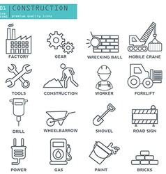 Industry construction thin line icons set vector