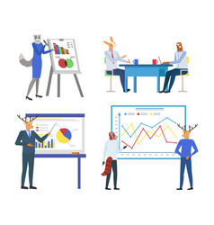 Infographics on whiteboard presentation on seminar vector