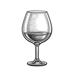 Ink sketch whiskey glass vector