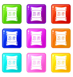 Japanese traditional scrol icons 9 set vector
