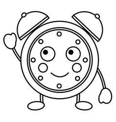 kawaii cartoon clock alarm character vector image
