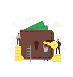 Large wallet and coins with small working people vector
